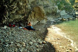 Sleeping on the beach in Corneglia, Italy